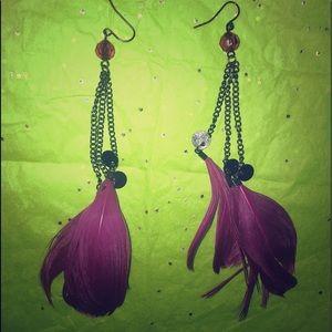 Jewelry - Unique EARRINGS purple feathers dangling